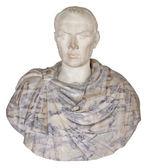 Oud standbeeld van julius caesar geïsoleerd op wit — Stockfoto