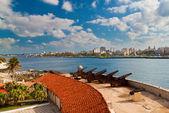 面对哈瓦那市老殖民地的大炮 — 图库照片