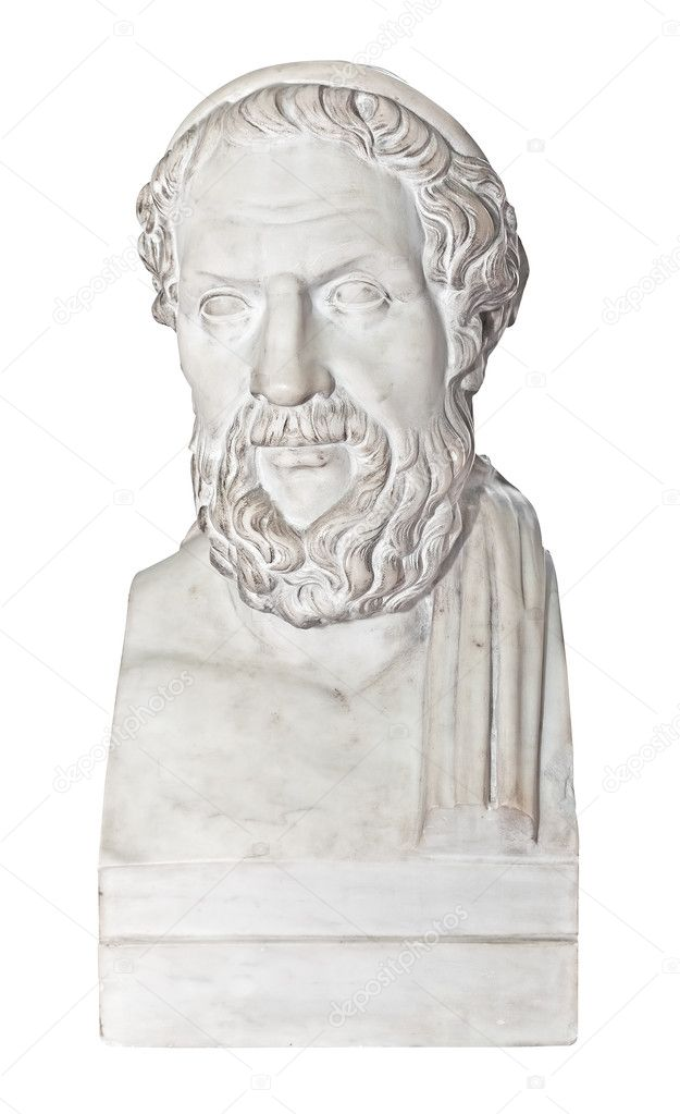 Ancient statue of the greek poet Homer isolated on white with cliipping path — Stock Photo #8481808
