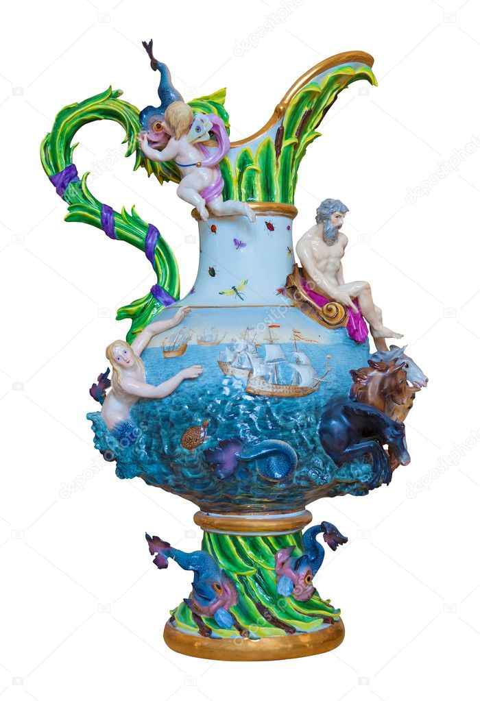 Luxurious european porcelain vase representing a marine scene isolated on a white background with clipping path  Stock Photo #8481811