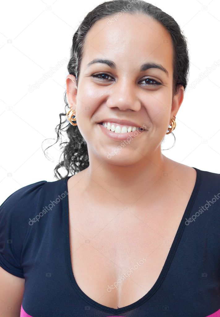 Portrait of a young latin woman isolated on a white background — Stock Photo #8483104
