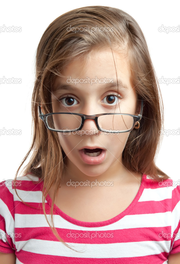 Portrait of a cute latin girl with glasses and a surprised look isolated on a white background  Stock Photo #8483226