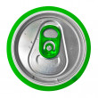 Top of a green beer can isolated on white — Stock Photo