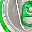 Top of a green beer or soft drink can — Stock Photo