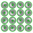 Photo: Green beer cans on white background