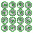 Стоковое фото: Green beer cans on white background