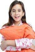 Hispanic girl wearing pajamas isolated on white — Stock Photo