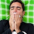Stock Photo: Sick mtrying to avoid coughing or vomiting