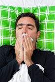 Sick man trying to avoid coughing or vomiting — Stock Photo