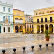 Raining in La Plaza Vieja,a landmark in Old Havana — Stock Photo