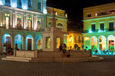 Famous square in Old Havana illuminated at night — Stock Photo