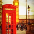 Stock Photo: Sunset in London with phone booth and the Big Ben