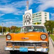 Old car parked at the Revolution Square in Havana — Stockfoto