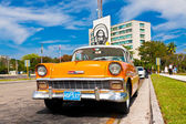 Old car in the Revolution Square in Havana — Stock Photo