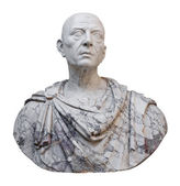 Ancient statue of Julius Caesar isolated on white — Stock Photo
