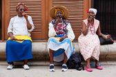 Women in Old Havana smoking cuban cigars — Stock Photo