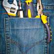 Tools on a pants pocket — Stock Photo