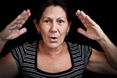 Old woman screaming — Stock Photo