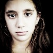 Dramatic portrait of a very sad girl crying — Stock Photo