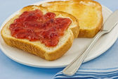 Toast and jam — Stock Photo