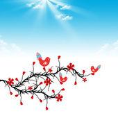 Kwiat wiśni i ptaki — Wektor stockowy