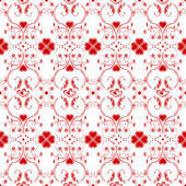 Seamless pattern of hearts and floral — Stock Vector