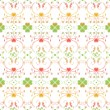 Seamless pattern of hearts and floral — Imagen vectorial