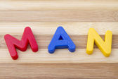 "Letter magnets ""MAN"" — Stock Photo"