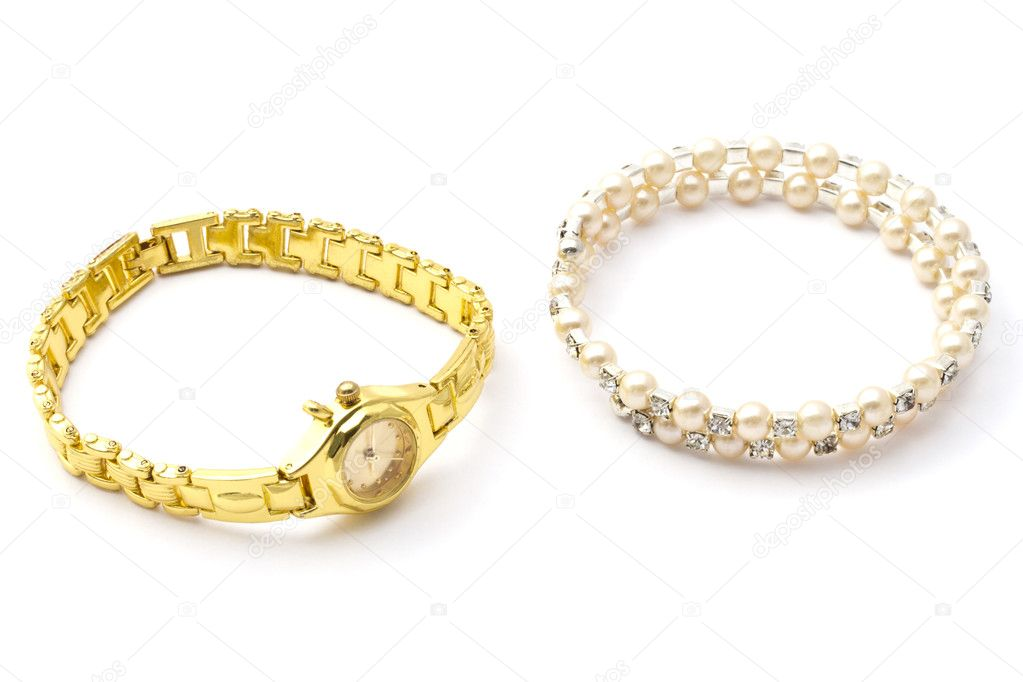 Fashion watch and bracelet closeup on white background  Stock Photo #9636163