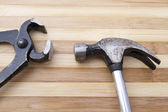 Old wrench and hammer — Stock Photo