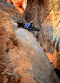 Person Hiking in Slot Canyon — Stock Photo