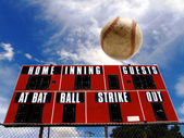 Baseball Homerun with Scoreboard — Stock Photo