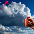 Flying Kite in Cloudy Sky — Stock Photo