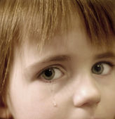Little Girl Crying with Tears — Stock Photo