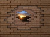 墙日落 — 图库照片