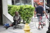 Homeless man asking for help — Stock Photo