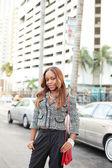 Woman posing at Downtown Miami — Stock Photo