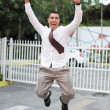 Businessman jumping for joy - Lizenzfreies Foto