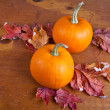 Stock Photo: Fall Decorative Pumpkins