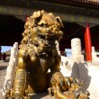 an imperial guardian lion in front of the gate of heavenly purit — Stock Photo