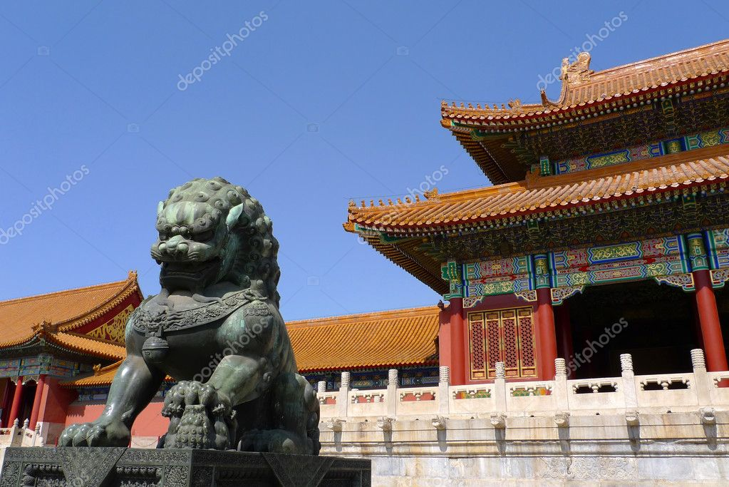 A ming dynasty imperial guardian lion (Shishi, or stone lion) in front of the gate of Supreme Harmony in the Forbidden City, Beijing, China. — Stock Photo #10377210
