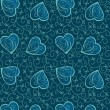 Seamless ornate background with hearts - Stock Vector