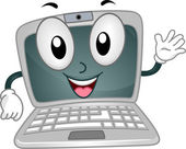 Laptop Mascot — Stock Photo