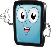 Tablet PC Mascot — Stock Photo