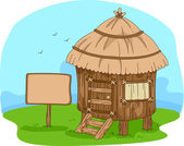 Illustration of a Hut in the Middle of a Field — Stock Photo