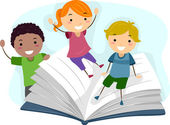 Children Playing with a Book — Stock Photo