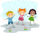 Playing in the Rain — Stock Photo