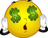 Money-crazed Smiley — Stock Photo