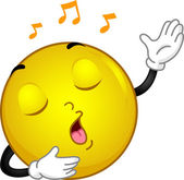 Singing Smiley — Stock Photo
