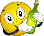 Smiley Holding a Wine Bottle — Stock Photo